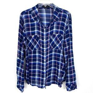 Anthro Sanctuary Boyfriend plaid shirt top blue